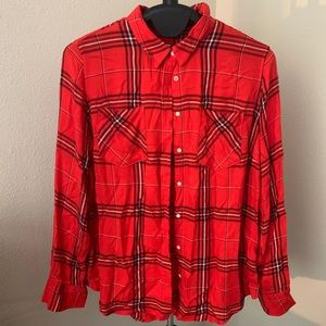 Tops - Plaid panel women's shirt